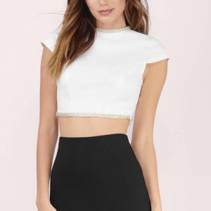 white crop top with silvery beading